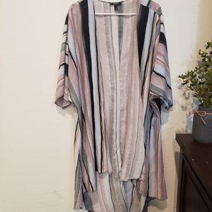 Torrid Multi Stripe Challis Hi-Lo Kimono